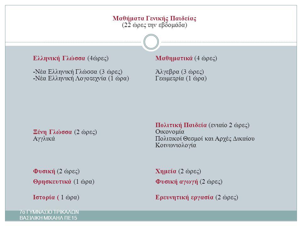 Μαθήματα Γενικής Παιδείας (22 ώρες την εβδομάδα) Ελληνική Γλώσσα (4ώρες) -Νέα Ελληνική Γλώσσα (3 ώρες) -Νέα Ελληνική Λογοτεχνία (1 ώρα) Μαθηματικά (4