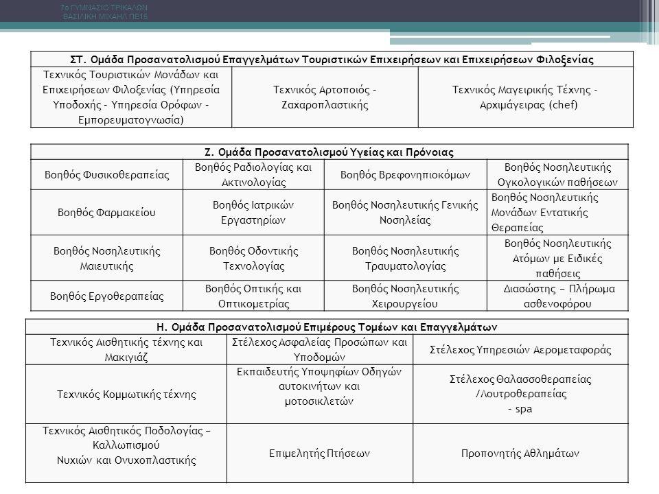 ΣΤ. Ομάδα Προσανατολισμού Επαγγελμάτων Τουριστικών Επιχειρήσεων και Επιχειρήσεων Φιλοξενίας Τεχνικός Τουριστικών Μονάδων και Επιχειρήσεων Φιλοξενίας (
