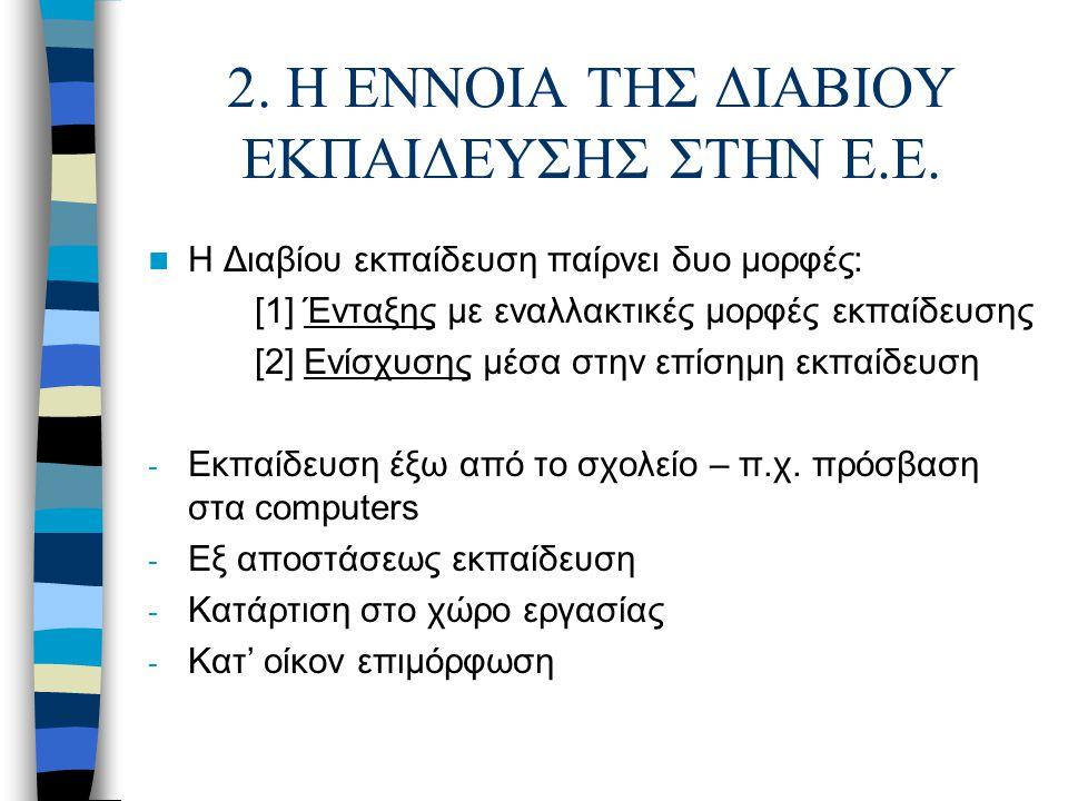 2. Η ΕΝΝΟΙΑ ΤΗΣ ΔΙΑΒΙΟΥ ΕΚΠΑΙΔΕΥΣΗΣ ΣΤΗΝ Ε.Ε. Η Διαβίου εκπαίδευση παίρνει δυο μορφές: [1] Ένταξης με εναλλακτικές μορφές εκπαίδευσης [2] Ενίσχυσης μέ