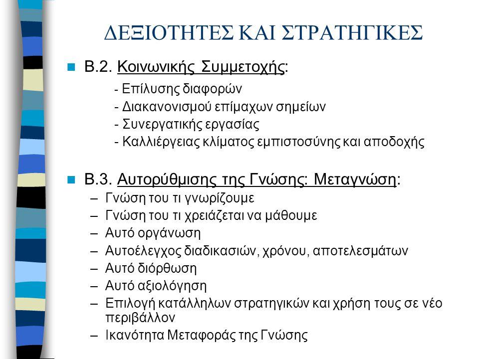 ΔΕΞΙΟΤΗΤΕΣ ΚΑΙ ΣΤΡΑΤΗΓΙΚΕΣ Β.2. Κοινωνικής Συμμετοχής: - Επίλυσης διαφορών - Διακανονισμού επίμαχων σημείων - Συνεργατικής εργασίας - Καλλιέργειας κλί