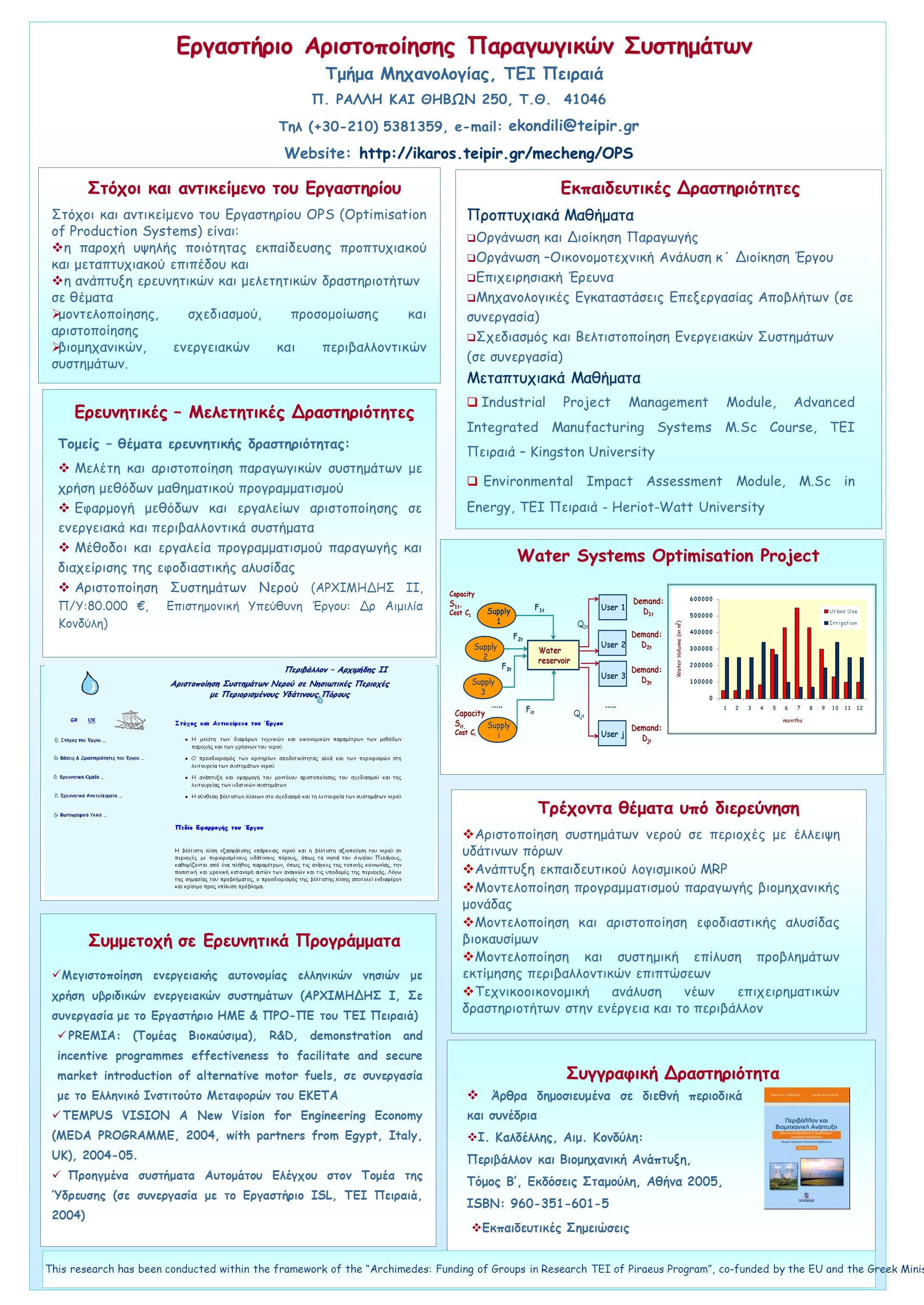 Εργαστήριο Αριστοποίησης Παραγωγικών Συστημάτων Τμήμα Μηχανολογίας, ΤΕΙ Πειραιά Στόχοι και αντικείμενο του Εργαστηρίου  Άρθρα δημοσιευμένα σε διεθνή περιοδικά και συνέδρια  Ι.