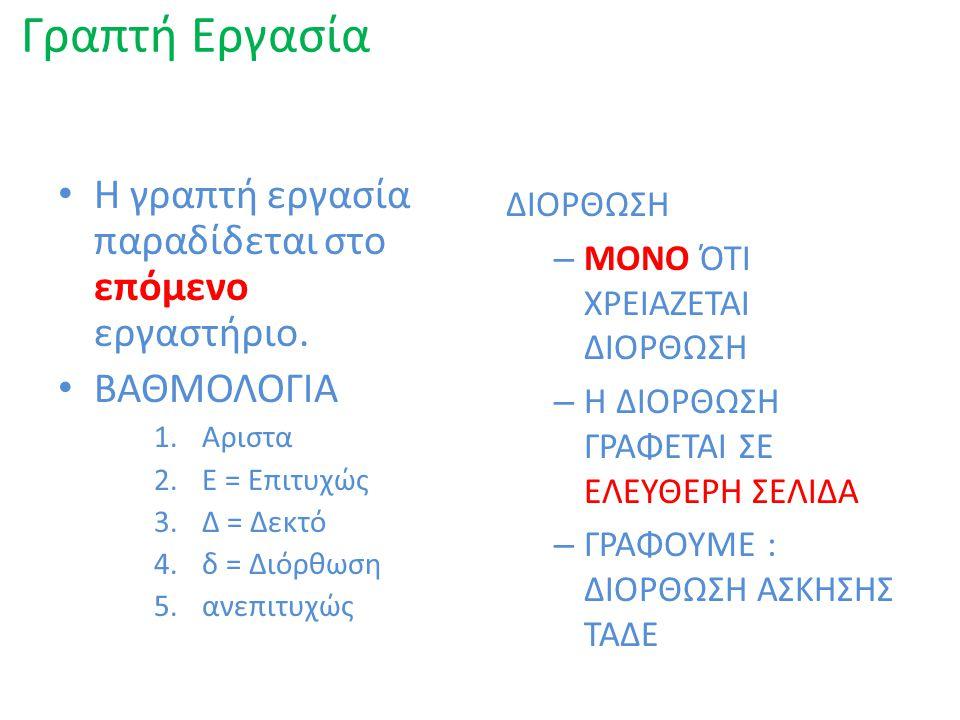 ΠΡΟΦΟΡΙΚΗ ΕΞΕΤΑΣΗ 1.ΑΡΧΗ ΑΠΟ 4 Ο ΕΡΓΑΣΤΗΡΙΟ 2.ΤΟΥΛΑΧΙΣΤΟΝ 3 ΦΟΡΕΣ 3.ΑΠΡΟΕΙΔΟΠΟΙΗΤΑ 4.ΣΤΟ ΜΑΘΗΜΑ ΤΗΣ ΗΜΕΡΑΣ 5.ΒΑΘΜΟΛΟΓΙΑ: 0 – 10 1.ΜΕΣΟΣ ΠΡΟΦΟΡΙΚΟΣ 2.ΜΕΣΟΣ ΓΡΑΠΤΟΣ 3.ΑΝ ΚΑΙ ΟΙ ΔΥΟ ΜΕΣΟΙ ≥ 5.0 ΜΕΣΟΣ ΠΡΟΦΟΡΙΚΟΣ = 60% ΜΕΣΟΣ ΓΡΑΠΤΟΣ = 40%