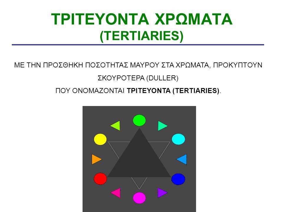 ΤΡΙΤΕΥΟΝΤΑ ΧΡΩΜΑΤΑ (TERTIARIES) ΜΕ ΤΗΝ ΠΡΟΣΘΗΚΗ ΠΟΣΟΤΗΤΑΣ ΜΑΥΡΟΥ ΣΤΑ ΧΡΩΜΑΤΑ, ΠΡΟΚΥΠΤΟΥΝ ΣΚΟΥΡΟΤΕΡΑ (DULLER) ΠΟΥ ΟΝΟΜΑΖΟΝΤΑΙ ΤΡΙΤΕΥΟΝΤΑ (TERTIARIES).