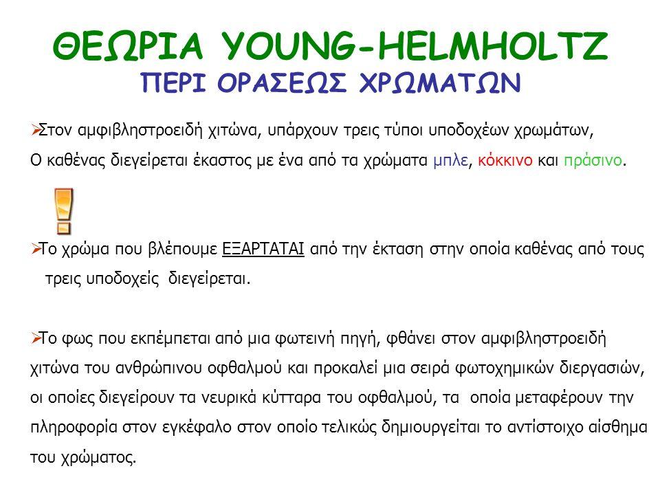 ΘΕΩΡΙΑ YOUNG-HELMHOLTZ ΠΕΡΙ ΟΡΑΣΕΩΣ ΧΡΩΜΑΤΩΝ  Στον αμφιβληστροειδή χιτώνα, υπάρχουν τρεις τύποι υποδοχέων χρωμάτων, Ο καθένας διεγείρεται έκαστος με