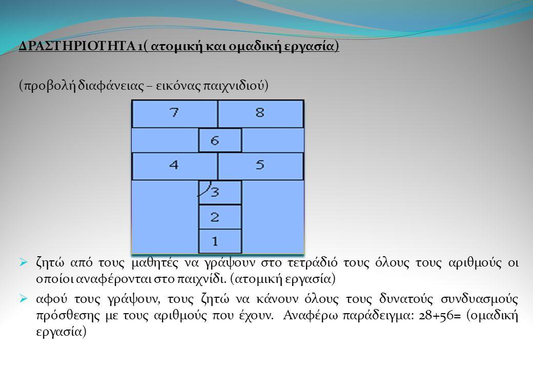 ΔΡΑΣΤΗΡΙΟΤΗΤΑ 1( ατομική και ομαδική εργασία) (προβολή διαφάνειας – εικόνας παιχνιδιού)  ζητώ από τους μαθητές να γράψουν στο τετράδιό τους όλους του