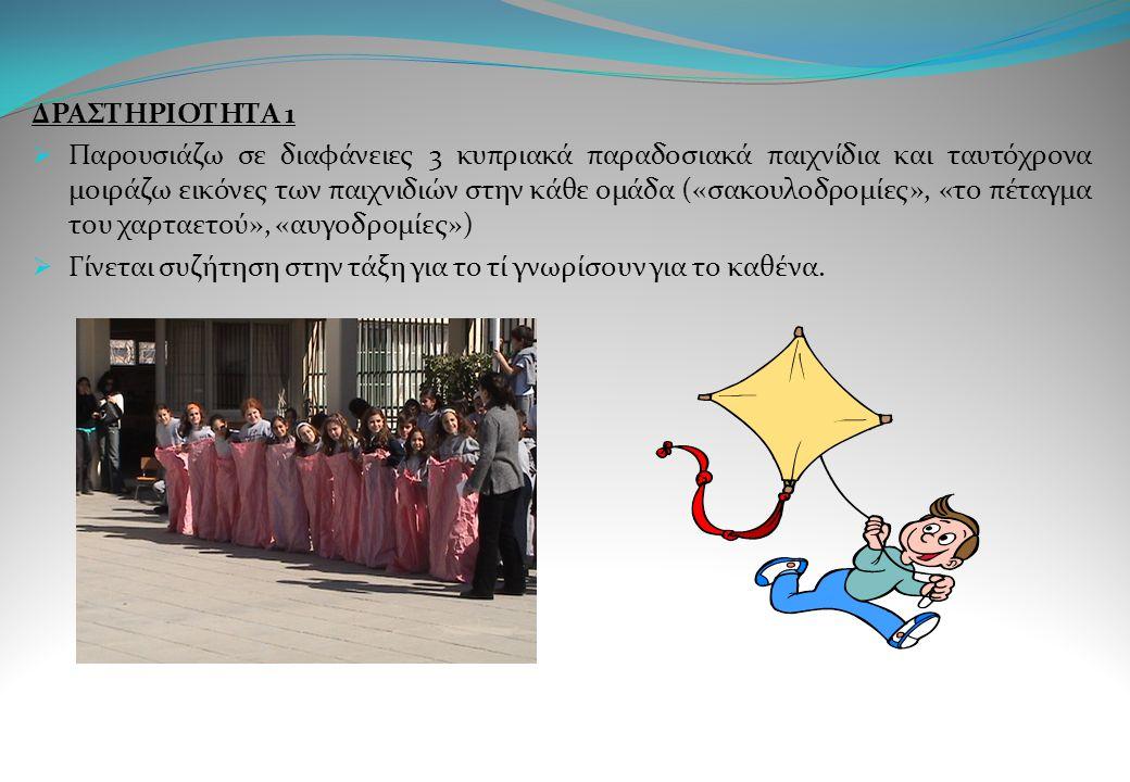 ΔΡΑΣΤΗΡΙΟΤΗΤΑ 1  Παρουσιάζω σε διαφάνειες 3 κυπριακά παραδοσιακά παιχνίδια και ταυτόχρονα μοιράζω εικόνες των παιχνιδιών στην κάθε ομάδα («σακουλοδρο