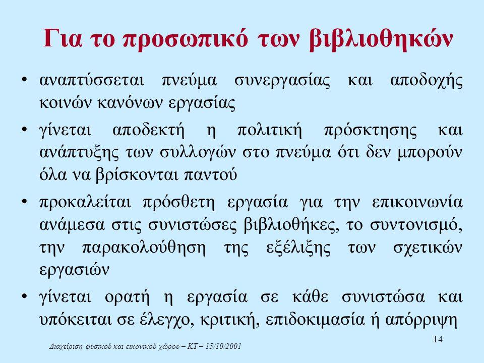 Διαχείριση φυσικού και εικονικού χώρου – ΚΤ – 15/10/2001 14 Για το προσωπικό των βιβλιοθηκών αναπτύσσεται πνεύμα συνεργασίας και αποδοχής κοινών κανόνων εργασίας γίνεται αποδεκτή η πολιτική πρόσκτησης και ανάπτυξης των συλλογών στο πνεύμα ότι δεν μπορούν όλα να βρίσκονται παντού προκαλείται πρόσθετη εργασία για την επικοινωνία ανάμεσα στις συνιστώσες βιβλιοθήκες, το συντονισμό, την παρακολούθηση της εξέλιξης των σχετικών εργασιών γίνεται ορατή η εργασία σε κάθε συνιστώσα και υπόκειται σε έλεγχο, κριτική, επιδοκιμασία ή απόρριψη