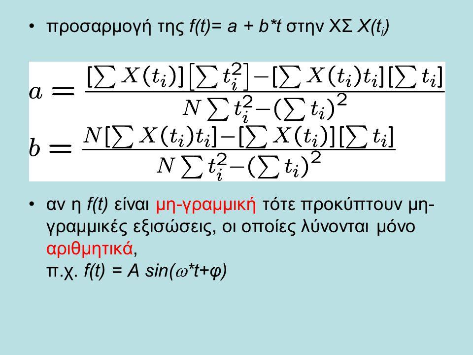 προσαρμογή της f(t)= a + b*t στην ΧΣ X(t i ) αν η f(t) είναι μη-γραμμική τότε προκύπτουν μη- γραμμικές εξισώσεις, οι οποίες λύνονται μόνο αριθμητικά, π.χ.