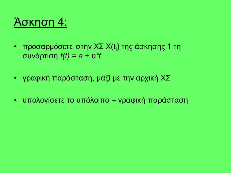 Άσκηση 4: προσαρμόσετε στην ΧΣ X(t i ) της άσκησης 1 τη συνάρτιση f(t) = a + b*t γραφική παράσταση, μαζί με την αρχική ΧΣ υπολογίσετε το υπόλοιπο – γραφική παράσταση