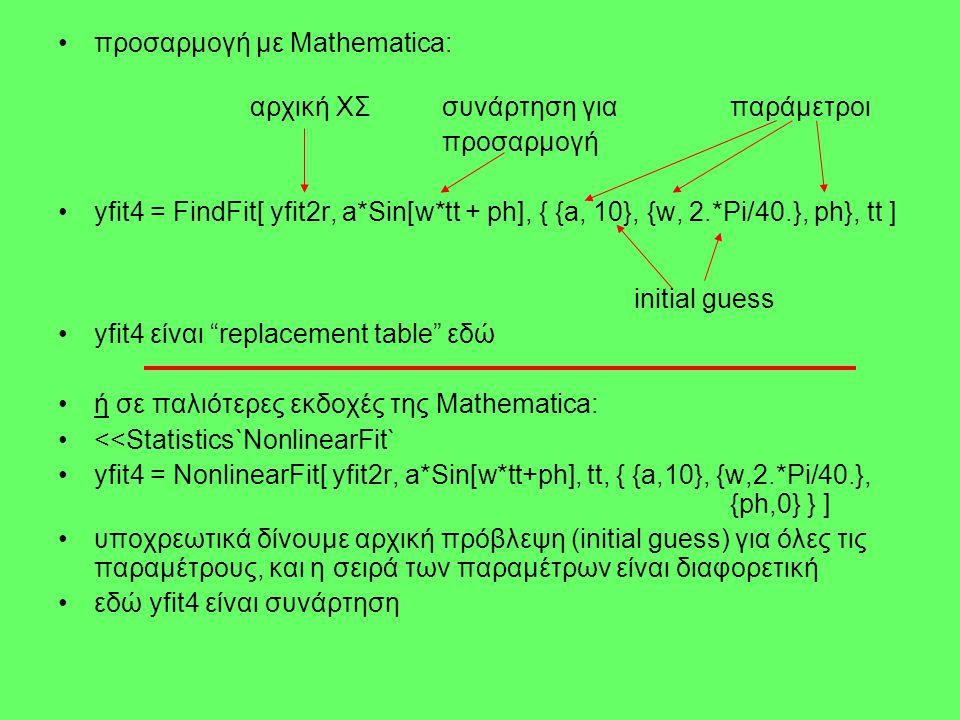 προσαρμογή με Mathematica: αρχική ΧΣσυνάρτηση γιαπαράμετροι προσαρμογή yfit4 = FindFit[ yfit2r, a*Sin[w*tt + ph], { {a, 10}, {w, 2.*Pi/40.}, ph}, tt ] initial guess yfit4 είναι replacement table εδώ ή σε παλιότερες εκδοχές της Mathematica: <<Statistics`NonlinearFit` yfit4 = NonlinearFit[ yfit2r, a*Sin[w*tt+ph], tt, { {a,10}, {w,2.*Pi/40.}, {ph,0} } ] υποχρεωτικά δίνουμε αρχική πρόβλεψη (initial guess) για όλες τις παραμέτρους, και η σειρά των παραμέτρων είναι διαφορετική εδώ yfit4 είναι συνάρτηση