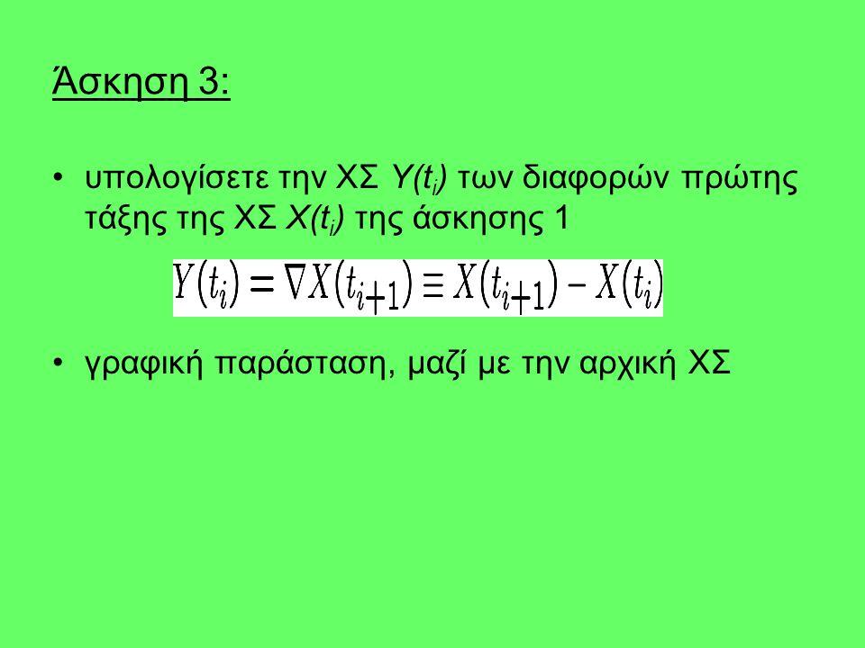 Άσκηση 3: υπολογίσετε την ΧΣ Y(t i ) των διαφορών πρώτης τάξης της ΧΣ X(t i ) της άσκησης 1 γραφική παράσταση, μαζί με την αρχική ΧΣ