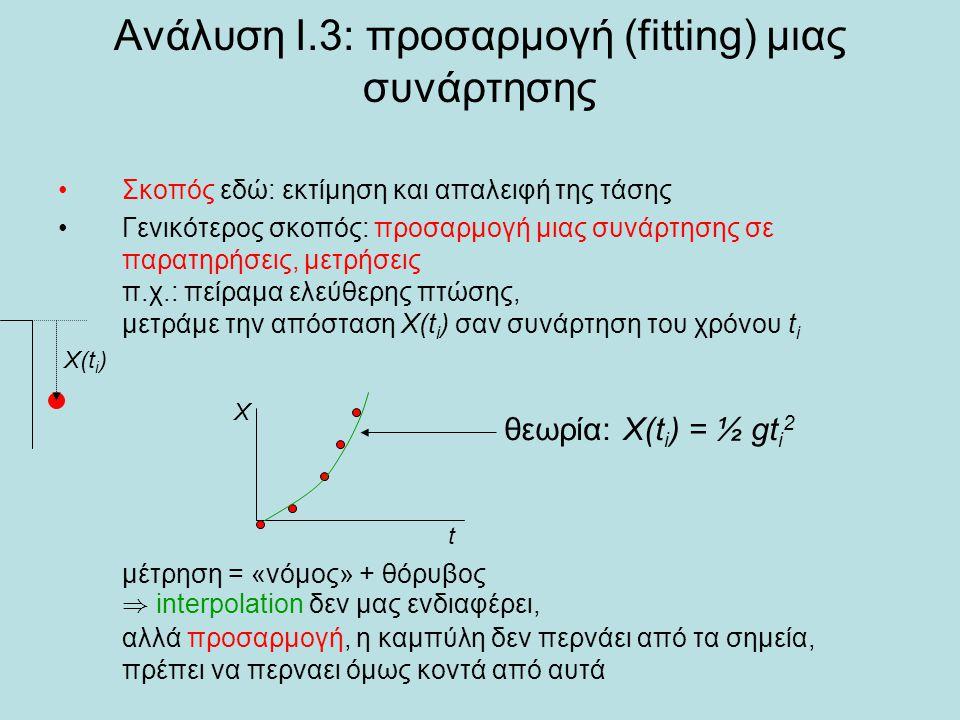 Ανάλυση Ι.3: προσαρμογή (fitting) μιας συνάρτησης Σκοπός εδώ: εκτίμηση και απαλειφή της τάσης Γενικότερος σκοπός: προσαρμογή μιας συνάρτησης σε παρατηρήσεις, μετρήσεις π.χ.: πείραμα ελεύθερης πτώσης, μετράμε την απόσταση X(t i ) σαν συνάρτηση του χρόνου t i μέτρηση = «νόμος» + θόρυβος ) interpolation δεν μας ενδιαφέρει, αλλά προσαρμογή, η καμπύλη δεν περνάει από τα σημεία, πρέπει να περναει όμως κοντά από αυτά Χ(t i ) θεωρία: X(t i ) = ½ gt i 2 t X