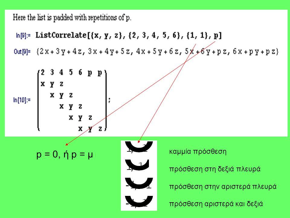 p = 0, ή p = μ καμμία πρόσθεση πρόσθεση στη δεξιά πλευρά πρόσθεση στην αριστερά πλευρά πρόσθεση αριστερά και δεξιά