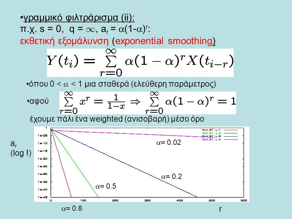 γραμμικό φιλτράρισμα (ii): π.χ. s = 0, q = 1, a r =  (1-  ) r : εκθετική εξομάλυνση (exponential smoothing) όπου 0 <  < 1 μια σταθερά (ελεύθερη παρ