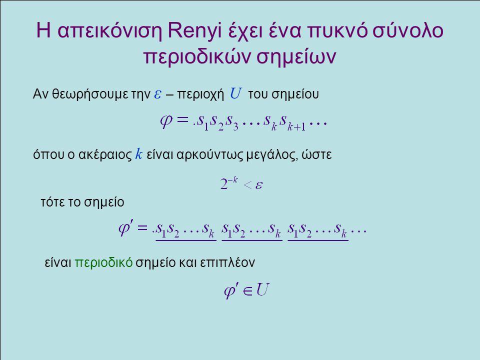 Η απεικόνιση Renyi έχει ένα πυκνό σύνολο περιοδικών σημείων Αν θεωρήσουμε την ε – περιοχή U του σημείου όπου ο ακέραιος k είναι αρκούντως μεγάλος, ώστ