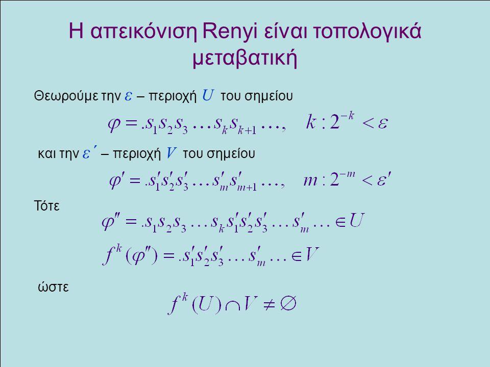 Η απεικόνιση Renyi είναι τοπολογικά μεταβατική Θεωρούμε την ε – περιοχή U του σημείου και την ε΄ – περιοχή V του σημείου Τότε ώστε