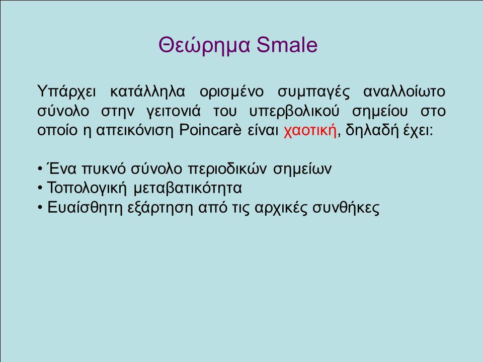 Θεώρημα Smale Υπάρχει κατάλληλα ορισμένο συμπαγές αναλλοίωτο σύνολο στην γειτονιά του υπερβολικού σημείου στο οποίο η απεικόνιση Poincarè είναι χαοτικ