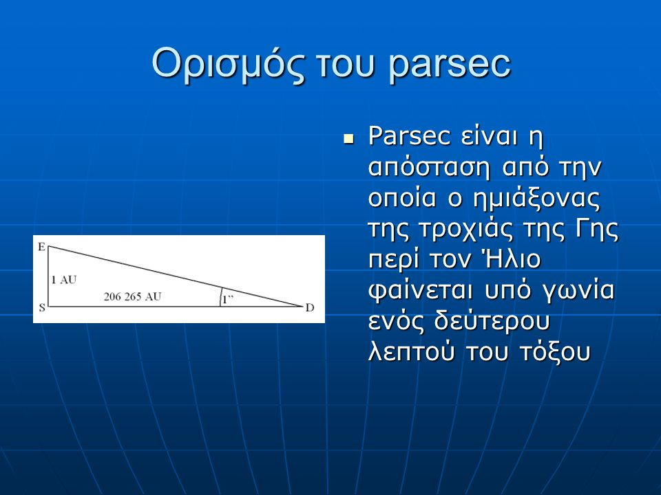 Ορισμός του parsec Parsec είναι η απόσταση από την οποία ο ημιάξονας της τροχιάς της Γης περί τον Ήλιο φαίνεται υπό γωνία ενός δεύτερου λεπτού του τόξ