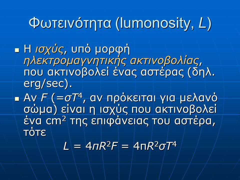 Λαμπρότητα (brightness, ℓ, b) Η ροή στη Γη της ηλεκτρομαγνητικής ακτινοβολίας που εκπέμπει (υποτίθεται ισοτροπικά!) ένας αστέρας σε απόσταση r Η ροή στη Γη της ηλεκτρομαγνητικής ακτινοβολίας που εκπέμπει (υποτίθεται ισοτροπικά!) ένας αστέρας σε απόσταση r ℓ = L/(4πr 2 ) Η ροή μπορεί να αναφέρεται σε όλο το ηλεκτρομαγνητικό φάσμα (βολομετρική λαμπρότητα) η σε μια συγκεκριμένη περιοχή συχνοτήτων (οπτική λαπμπρότητα, φωτογραφική κλπ.) Η ροή μπορεί να αναφέρεται σε όλο το ηλεκτρομαγνητικό φάσμα (βολομετρική λαμπρότητα) η σε μια συγκεκριμένη περιοχή συχνοτήτων (οπτική λαπμπρότητα, φωτογραφική κλπ.)