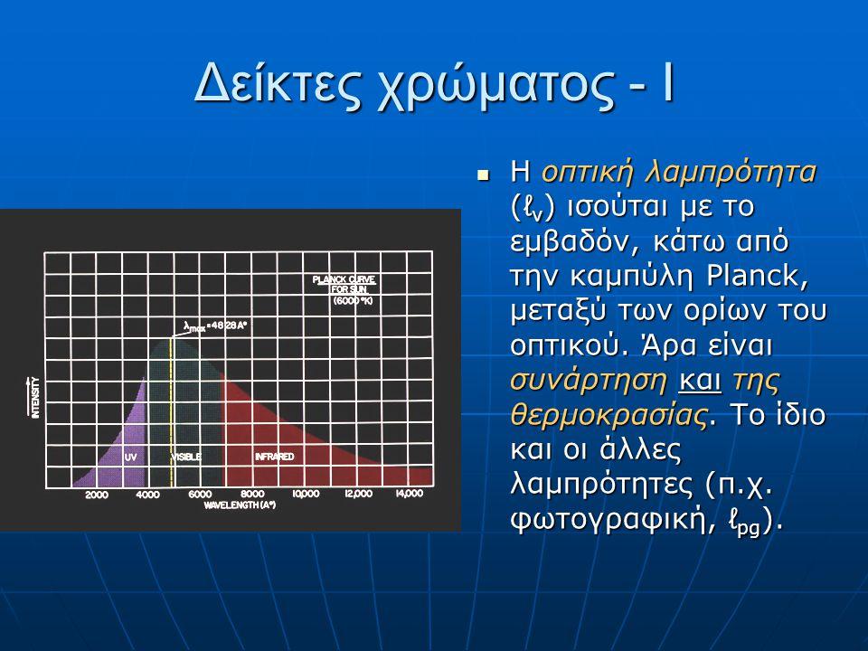 Δείκτες χρώματος - Ι Η οπτική λαμπρότητα (ℓ v ) ισούται με το εμβαδόν, κάτω από την καμπύλη Planck, μεταξύ των ορίων του οπτικού. Άρα είναι συνάρτηση
