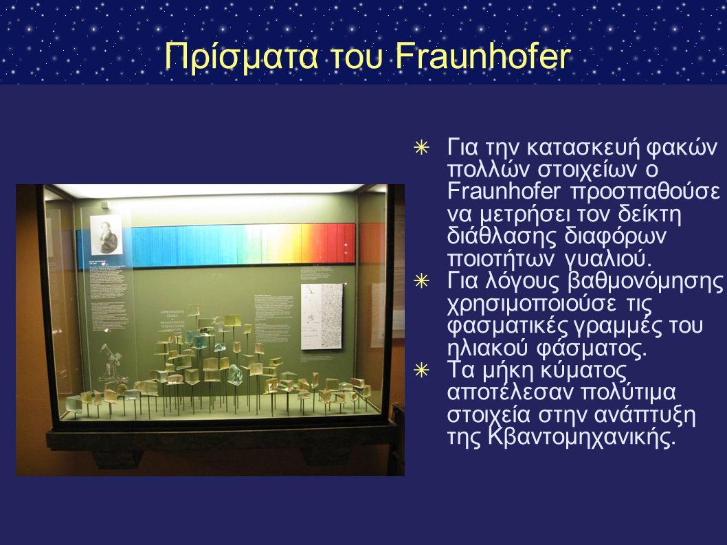 Πρίσματα του Fraunhofer ✴ Για την κατασκευή φακών πολλών στοιχείων ο Fraunhofer προσπαθούσε να μετρήσει τον δείκτη διάθλασης διαφόρων ποιοτήτων γυαλιο
