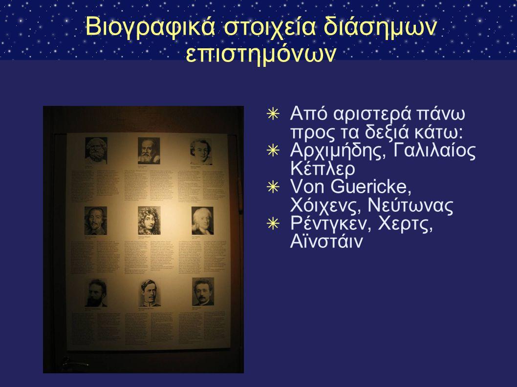 Βιογραφικά στοιχεία διάσημων επιστημόνων ✴ Από αριστερά πάνω προς τα δεξιά κάτω: ✴ Αρχιμήδης, Γαλιλαίος Κέπλερ ✴ Von Guericke, Χόιχενς, Νεύτωνας ✴ Ρέν