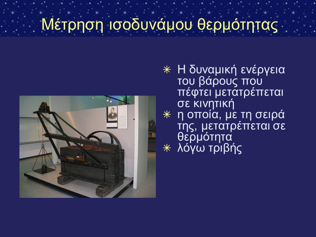 Μέτρηση ισοδυνάμου θερμότητας ✴ Η δυναμική ενέργεια του βάρους που πέφτει μετατρέπεται σε κινητική ✴ η οποία, με τη σειρά της, μετατρέπεται σε θερμότη
