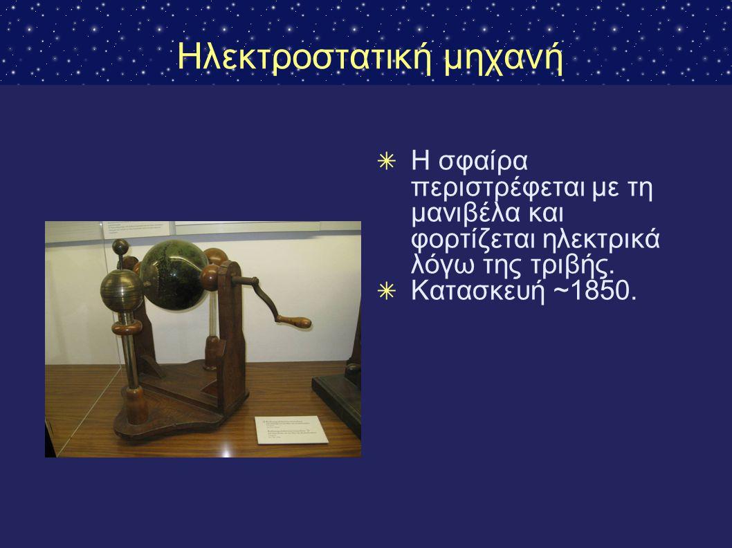 Ηλεκτροστατική μηχανή ✴ Η σφαίρα περιστρέφεται με τη μανιβέλα και φορτίζεται ηλεκτρικά λόγω της τριβής. ✴ Κατασκευή ~1850.