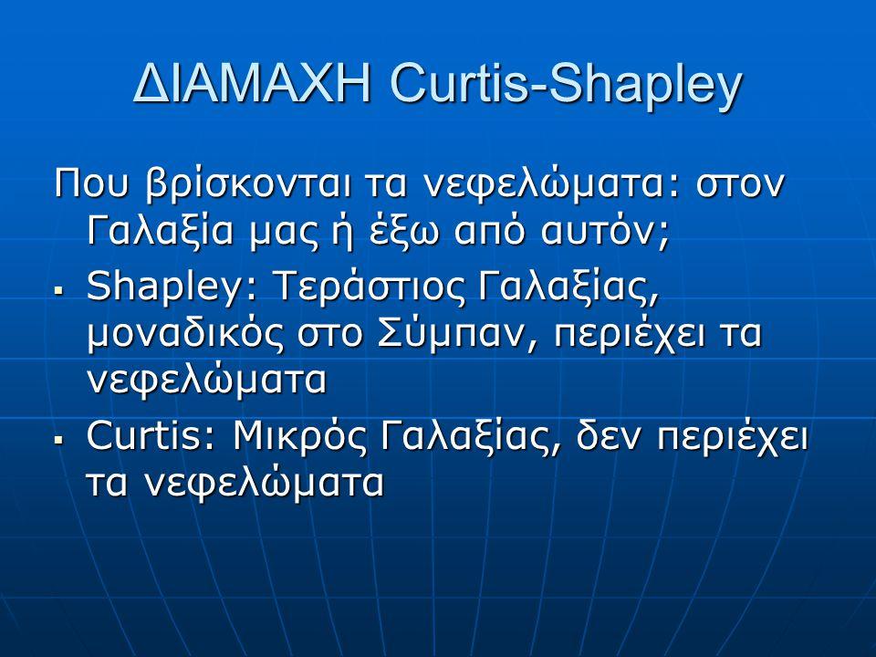 ΔΙΑΜΑΧΗ Curtis-Shapley Που βρίσκονται τα νεφελώματα: στον Γαλαξία μας ή έξω από αυτόν;  Shapley: Τεράστιος Γαλαξίας, μοναδικός στο Σύμπαν, περιέχει τα νεφελώματα  Curtis: Μικρός Γαλαξίας, δεν περιέχει τα νεφελώματα