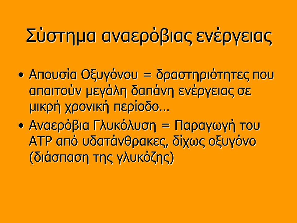 Σύστημα αναερόβιας ενέργειας Απουσία Οξυγόνου = δραστηριότητες που απαιτούν μεγάλη δαπάνη ενέργειας σε μικρή χρονική περίοδο…Απουσία Οξυγόνου = δραστηριότητες που απαιτούν μεγάλη δαπάνη ενέργειας σε μικρή χρονική περίοδο… Αναερόβια Γλυκόλυση = Παραγωγή του ATP από υδατάνθρακες, δίχως οξυγόνο (διάσπαση της γλυκόζης)Αναερόβια Γλυκόλυση = Παραγωγή του ATP από υδατάνθρακες, δίχως οξυγόνο (διάσπαση της γλυκόζης)