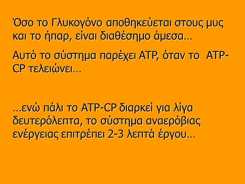 Όσο το Γλυκογόνο αποθηκεύεται στους μυς και το ήπαρ, είναι διαθέσημο άμεσα… Αυτό το σύστημα παρέχει ATP, όταν το ATP- CP τελειώνει… …ενώ πάλι το ATP-CP διαρκεί για λίγα δευτερόλεπτα, το σύστημα αναερόβιας ενέργειας επιτρέπει 2-3 λεπτά έργου…