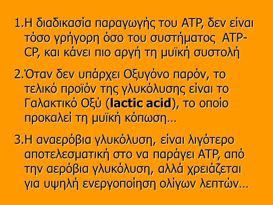 1.Η διαδικασία παραγωγής του ATP, δεν είναι τόσο γρήγορη όσο του συστήματος ATP- CP, και κάνει πιο αργή τη μυϊκή συστολή 2.Όταν δεν υπάρχει Οξυγόνο παρόν, το τελικό προϊόν της γλυκόλυσης είναι το Γαλακτικό Οξύ (lactic acid), το οποίο προκαλεί τη μυϊκή κόπωση… 3.Η αναερόβια γλυκόλυση, είναι λιγότερο αποτελεσματική στο να παράγει ATP, από την αερόβια γλυκόλυση, αλλά χρειάζεται για υψηλή ενεργοποίηση ολίγων λεπτών…