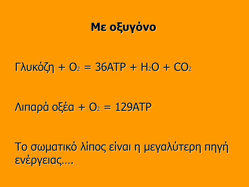 Με οξυγόνο Γλυκόζη + O 2 = 36ATP + H 2 O + CO 2 Λιπαρά οξέα + O 2 = 129ATP Το σωματικό λίπος είναι η μεγαλύτερη πηγή ενέργειας….