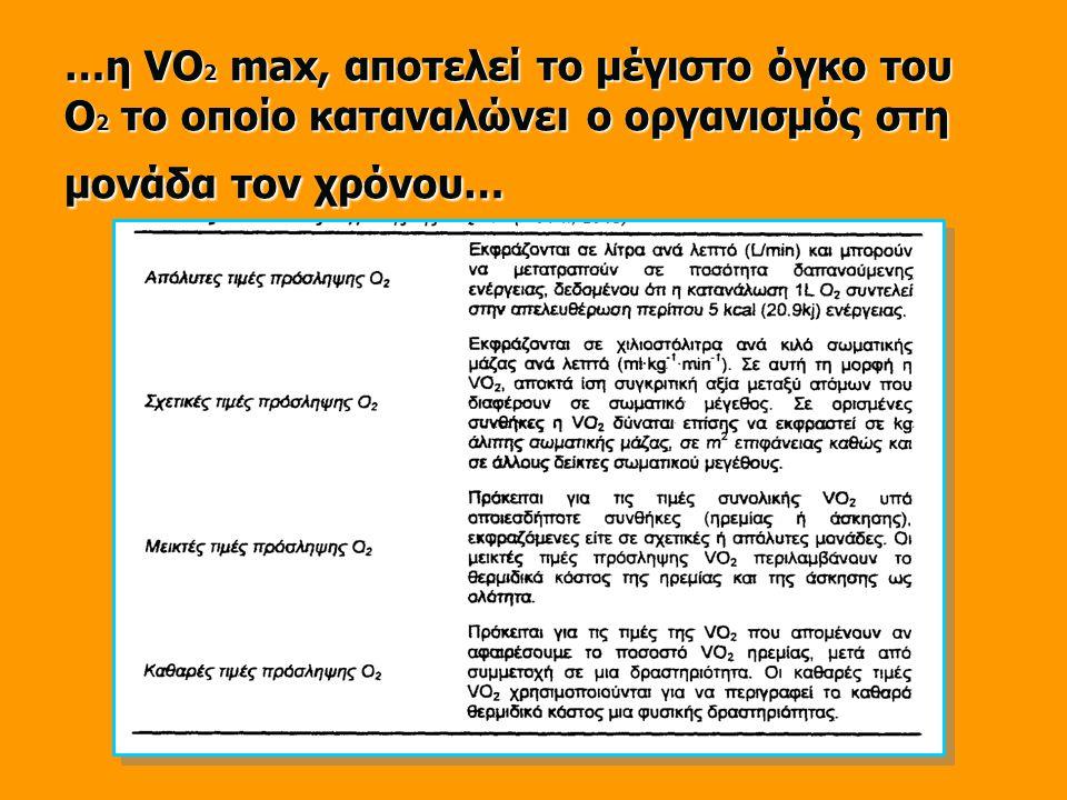 …η VΟ 2 max, αποτελεί το μέγιστο όγκο του Ο 2 το οποίο καταναλώνει ο οργανισμός στη μονάδα τον χρόνου…