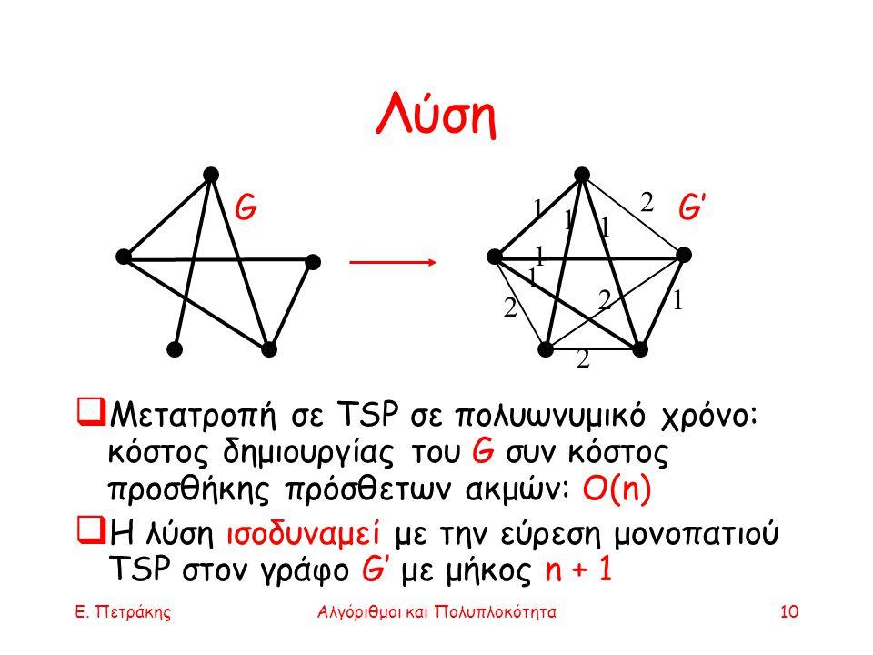 Ε. ΠετράκηςΑλγόριθμοι και Πολυπλοκότητα10 Λύση  Μετατροπή σε TSP σε πολυωνυμικό χρόνο: κόστος δημιουργίας του G συν κόστος προσθήκης πρόσθετων ακμών: