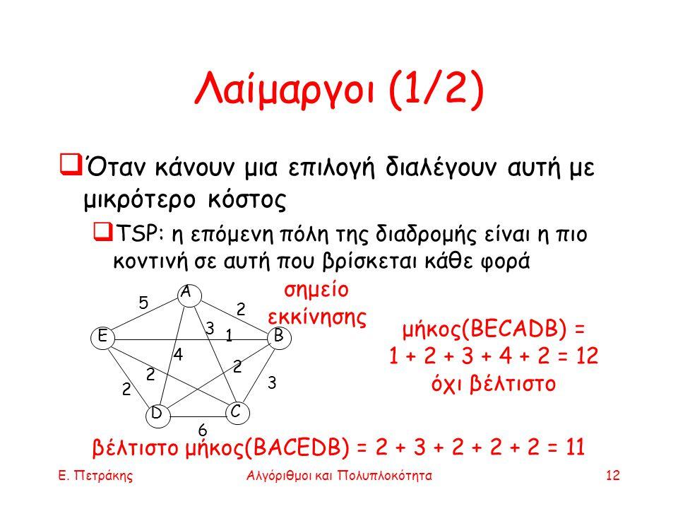 Ε. ΠετράκηςΑλγόριθμοι και Πολυπλοκότητα12 Λαίμαργοι (1/2)  Όταν κάνουν μια επιλογή διαλέγουν αυτή με μικρότερο κόστος  TSP: η επόμενη πόλη της διαδρ