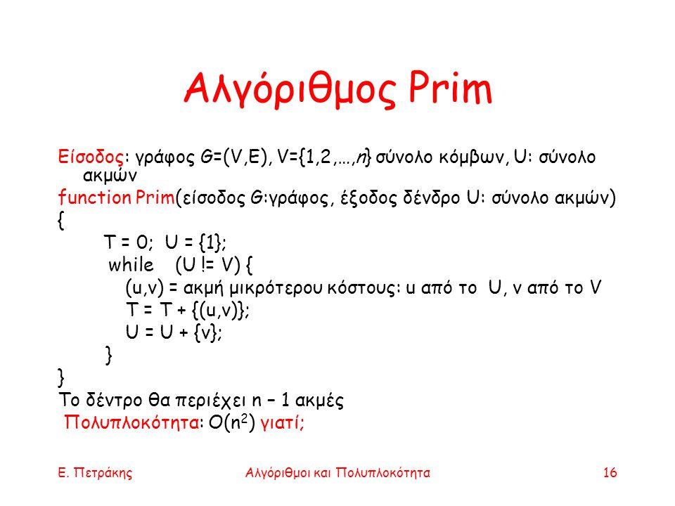 Ε. ΠετράκηςΑλγόριθμοι και Πολυπλοκότητα16 Αλγόριθμος Prim Είσοδος: γράφος G=(V,E), V={1,2,…,n} σύνολο κόμβων, U: σύνολο ακμών function Prim(είσοδος G: