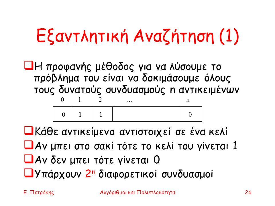 Ε. ΠετράκηςΑλγόριθμοι και Πολυπλοκότητα26 Εξαντλητική Αναζήτηση (1)  Η προφανής μέθοδος για να λύσουμε το πρόβλημα του είναι να δοκιμάσουμε όλους του