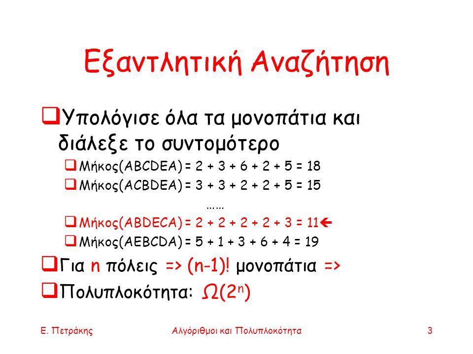 Ε. ΠετράκηςΑλγόριθμοι και Πολυπλοκότητα3 Εξαντλητική Αναζήτηση  Υπολόγισε όλα τα μονοπάτια και διάλεξε το συντομότερο  Μήκος(ABCDEA) = 2 + 3 + 6 + 2