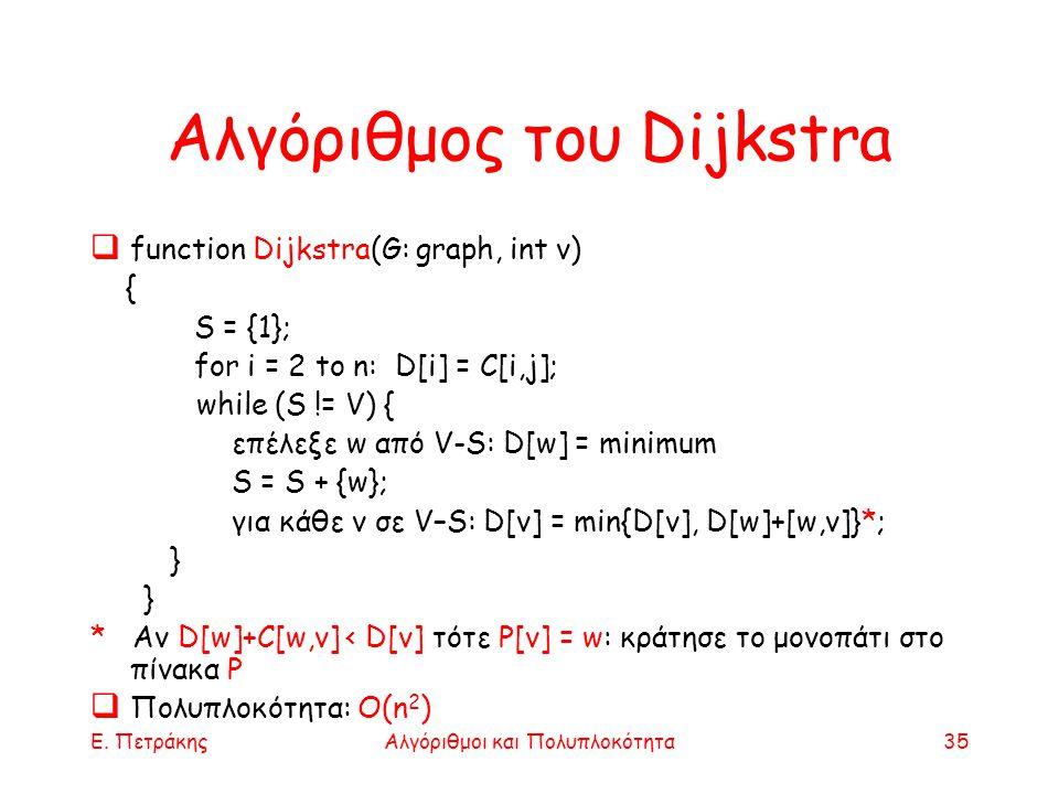 Ε. ΠετράκηςΑλγόριθμοι και Πολυπλοκότητα35 Αλγόριθμος του Dijkstra  function Dijkstra(G: graph, int v) { S = {1}; for i = 2 to n: D[i] = C[i,j]; while