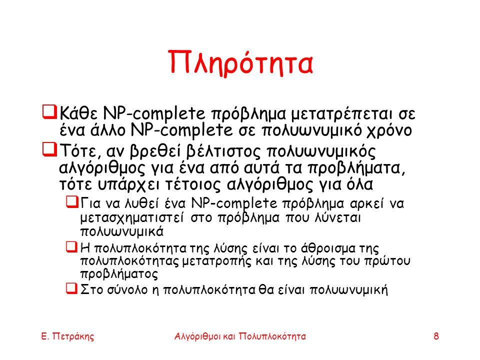 Ε. ΠετράκηςΑλγόριθμοι και Πολυπλοκότητα8 Πληρότητα  Κάθε NP-complete πρόβλημα μετατρέπεται σε ένα άλλο NP-complete σε πολυωνυμικό χρόνο  Τότε, αν βρ