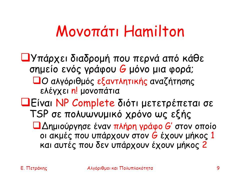 Ε. ΠετράκηςΑλγόριθμοι και Πολυπλοκότητα9 Μονοπάτι Hamilton  Υπάρχει διαδρομή που περνά από κάθε σημείο ενός γράφου G μόνο μια φορά;  Ο αλγόριθμός εξ