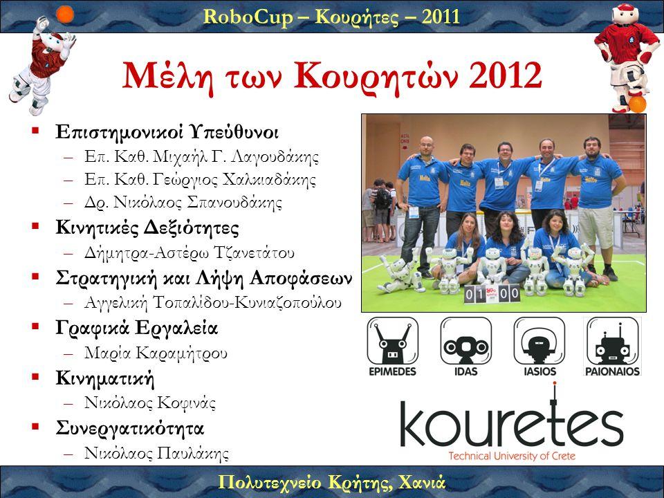 RoboCup – Κουρήτες – 2011 Πολυτεχνείο Κρήτης, Χανιά Μέλη των Κουρητών 2012  Επιστημονικοί Υπεύθυνοι –Επ.