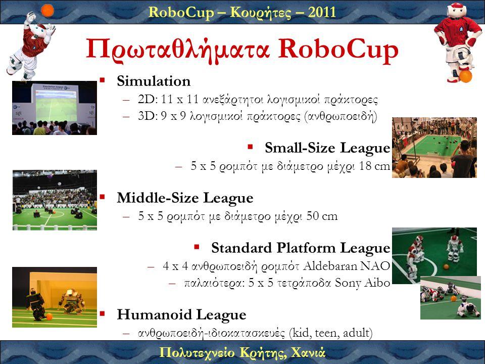 RoboCup – Κουρήτες – 2011 Πολυτεχνείο Κρήτης, Χανιά Πρωταθλήματα RoboCup  Simulation –2D: 11 x 11 ανεξάρτητοι λογισμικοί πράκτορες –3D: 9 x 9 λογισμικοί πράκτορες (ανθρωποειδή)  Small-Size League –5 x 5 ρομπότ με διάμετρο μέχρι 18 cm  Middle-Size League –5 x 5 ρομπότ με διάμετρο μέχρι 50 cm  Standard Platform League –4 x 4 ανθρωποειδή ρομπότ Aldebaran ΝΑΟ –παλαιότερα: 5 x 5 τετράποδα Sony Aibo  Humanoid League –ανθρωποειδή-ιδιοκατασκευές (kid, teen, adult)