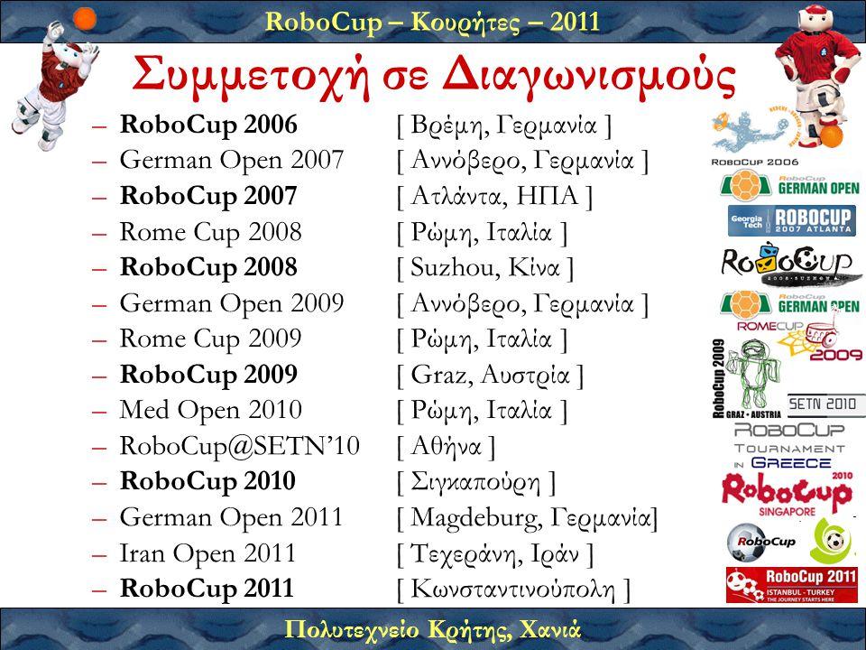 RoboCup – Κουρήτες – 2011 Πολυτεχνείο Κρήτης, Χανιά –RoboCup 2006 [ Βρέμη, Γερμανία ] –German Open 2007 [ Αννόβερο, Γερμανία ] –RoboCup 2007 [ Ατλάντα, ΗΠΑ ] –Rome Cup 2008[ Ρώμη, Ιταλία ] –RoboCup 2008 [ Suzhou, Κίνα ] –German Open 2009 [ Αννόβερο, Γερμανία ] –Rome Cup 2009[ Ρώμη, Ιταλία ] –RoboCup 2009 [ Graz, Αυστρία ] –Med Open 2010[ Ρώμη, Ιταλία ] –RoboCup@SETN'10[ Αθήνα ] –RoboCup 2010 [ Σιγκαπούρη ] –German Open 2011[ Magdeburg, Γερμανία] –Iran Open 2011[ Τεχεράνη, Ιράν ] –RoboCup 2011[ Κωνσταντινούπολη ] Συμμετοχή σε Διαγωνισμούς