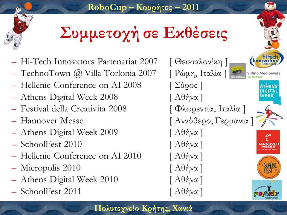 RoboCup – Κουρήτες – 2011 Πολυτεχνείο Κρήτης, Χανιά –Hi-Tech Innovators Partenariat 2007[ Θεσσαλονίκη ] –TechnoTown @ Villa Torlonia 2007[ Ρώμη, Ιταλία ] –Hellenic Conference on AI 2008[ Σύρος ] –Athens Digital Week 2008[ Αθήνα ] –Festival della Creativita 2008[ Φλωρεντία, Ιταλία ] –Hannover Messe[ Αννόβερο, Γερμανία ] –Athens Digital Week 2009[ Αθήνα ] –SchoolFest 2010[ Αθήνα ] –Hellenic Conference on AI 2010[ Αθήνα ] –Micropolis 2010[ Αθήνα ] –Athens Digital Week 2010[ Αθήνα ] –SchoolFest 2011[ Αθήνα ] Συμμετοχή σε Εκθέσεις