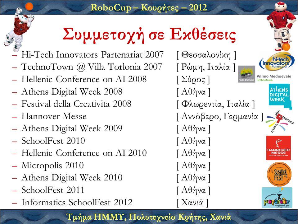 RoboCup – Κουρήτες – 2012 Τμήμα ΗΜΜΥ, Πολυτεχνείο Κρήτης, Χανιά –Hi-Tech Innovators Partenariat 2007[ Θεσσαλονίκη ] –TechnoTown @ Villa Torlonia 2007[