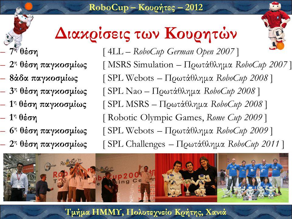 RoboCup – Κουρήτες – 2012 Τμήμα ΗΜΜΥ, Πολυτεχνείο Κρήτης, Χανιά Διακρίσεις των Κουρητών –7 η θέση [ 4LL – RoboCup German Open 2007 ] –2 η θέση παγκοσμίως [ MSRS Simulation – Πρωτάθλημα RoboCup 2007 ] –8άδα παγκοσμίως [ SPL Webots – Πρωτάθλημα RoboCup 2008 ] –3 η θέση παγκοσμίως [ SPL Nao – Πρωτάθλημα RoboCup 2008 ] –1 η θέση παγκοσμίως [ SPL MSRS – Πρωτάθλημα RoboCup 2008 ] –1 η θέση [ Robotic Olympic Games, Rome Cup 2009 ] –6 η θέση παγκοσμίως [ SPL Webots – Πρωτάθλημα RoboCup 2009 ] –2 η θέση παγκοσμίως [ SPL Challenges – Πρωτάθλημα RoboCup 2011 ]