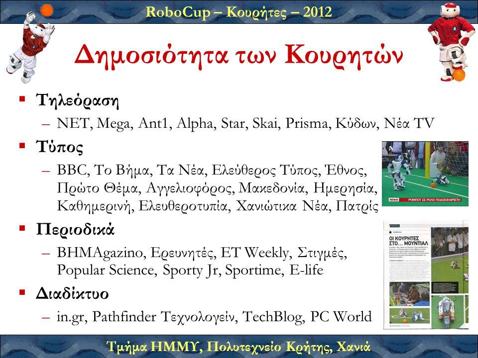 RoboCup – Κουρήτες – 2012 Τμήμα ΗΜΜΥ, Πολυτεχνείο Κρήτης, Χανιά Δημοσιότητα των Κουρητών  Τηλεόραση –ΝΕΤ, Mega, Ant1, Alpha, Star, Skai, Prisma, Κύδων, Νέα TV  Τύπος –BBC, Το Βήμα, Τα Νέα, Ελεύθερος Τύπος, Έθνος, Πρώτο Θέμα, Αγγελιοφόρος, Μακεδονία, Ημερησία, Καθημερινή, Ελευθεροτυπία, Χανιώτικα Νέα, Πατρίς  Περιοδικά –ΒΗΜΑgazino, Ερευνητές, ΕΤ Weekly, Στιγμές, Popular Science, Sporty Jr, Sportime, E-life  Διαδίκτυο –in.gr, Pathfinder Τεχνολογείν, TechBlog, PC World