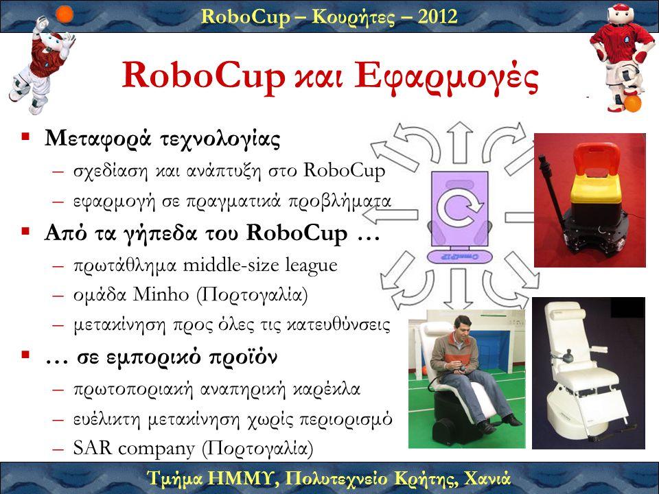 RoboCup – Κουρήτες – 2012 Τμήμα ΗΜΜΥ, Πολυτεχνείο Κρήτης, Χανιά RoboCup και Εφαρμογές  Μεταφορά τεχνολογίας –σχεδίαση και ανάπτυξη στο RoboCup –εφαρμογή σε πραγματικά προβλήματα  Από τα γήπεδα του RoboCup … –πρωτάθλημα middle-size league –ομάδα Minho (Πορτογαλία) –μετακίνηση προς όλες τις κατευθύνσεις  … σε εμπορικό προϊόν –πρωτοποριακή αναπηρική καρέκλα –ευέλικτη μετακίνηση χωρίς περιορισμό –SAR company (Πορτογαλία)